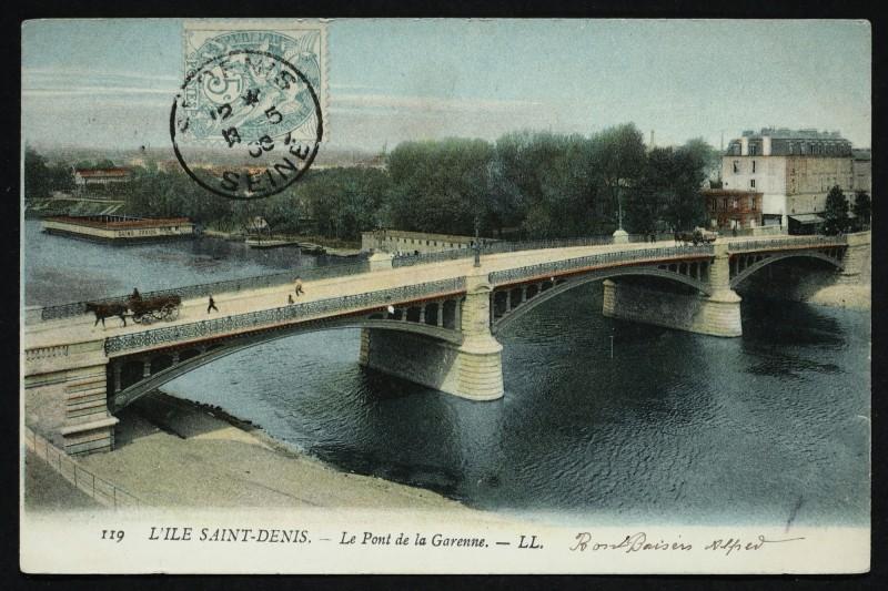 Carte postale ancienne L'Ile Saint-Denis - Le Pont de la Garenne à L'Île-Saint-Denis