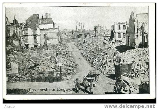 Carte postale ancienne Alfred Grohs B. ... Das zerstörte Longwy. Bildseite