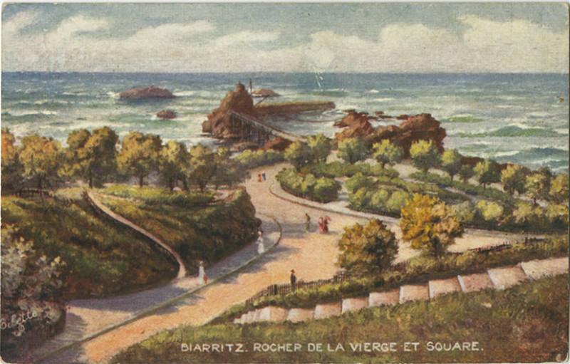 Carte postale ancienne Biarritz. Rocher De La Verge Et Square. 936P 1 (NBY 418810) à