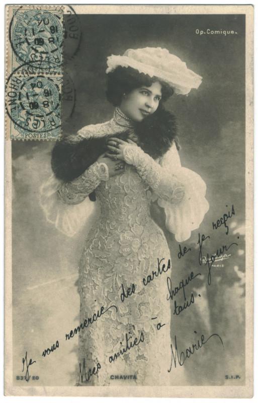 Carte postale ancienne CHAVITA, Luz SIP. 837-20. Opéra Comique. Photo Reutlinger à
