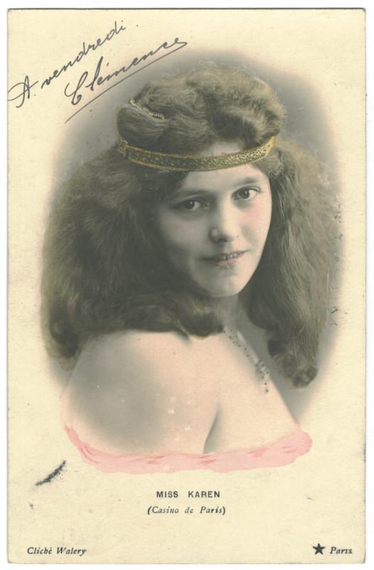 Carte postale ancienne KAREN, Miss Etoile. 650-38. Casino de Paris. Photo Waléry à
