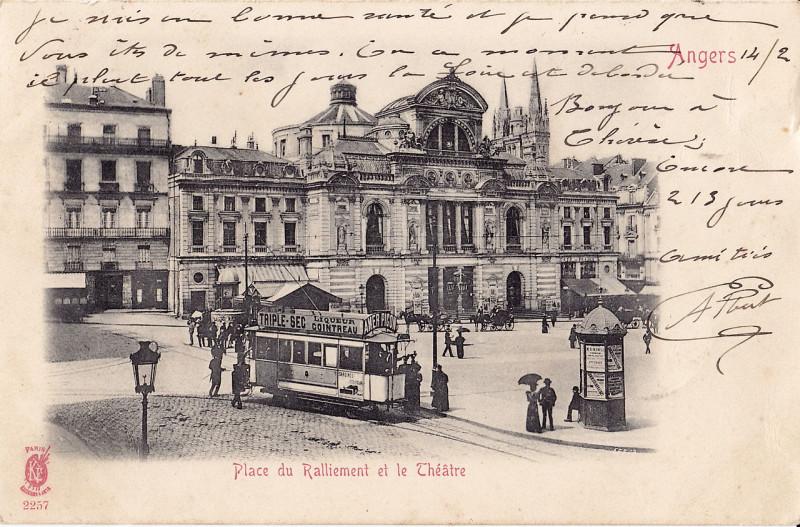 Carte postale ancienne Ke - Angers - Place du Ralliement et le Théatre à Angers
