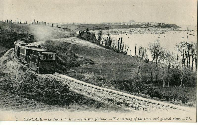 Carte postale ancienne Ll 1 Cancale - Le départ du tramway et vue générale à Cancale