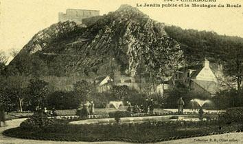 Carte postale ancienne 50-Cherbourg-Jardin public et montagne du Roule-1908 à Cherbourg-en-Cotentin