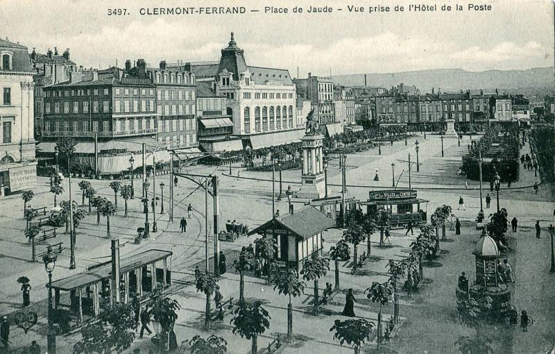 Carte postale ancienne Eld 3497 - Clermont-Fd - Place de Jaude - Vue prise de l'Hotel de la Poste à Clermont-Ferrand