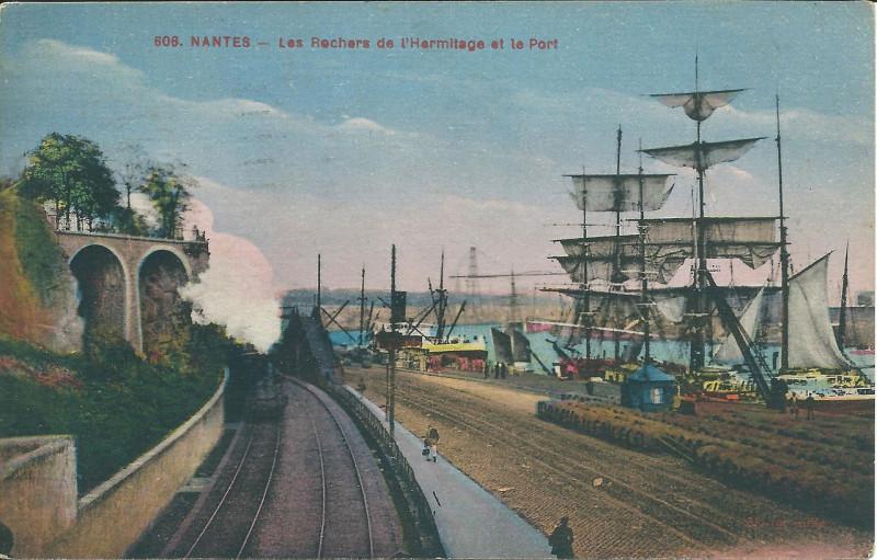 Carte postale ancienne Nantes harbour Les Rochers de l'Hermitage à Nantes