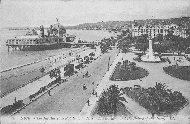 Carte postale ancienne Nice-Les Jardins et le Palais de la Jetée-Ll 36 à Nice