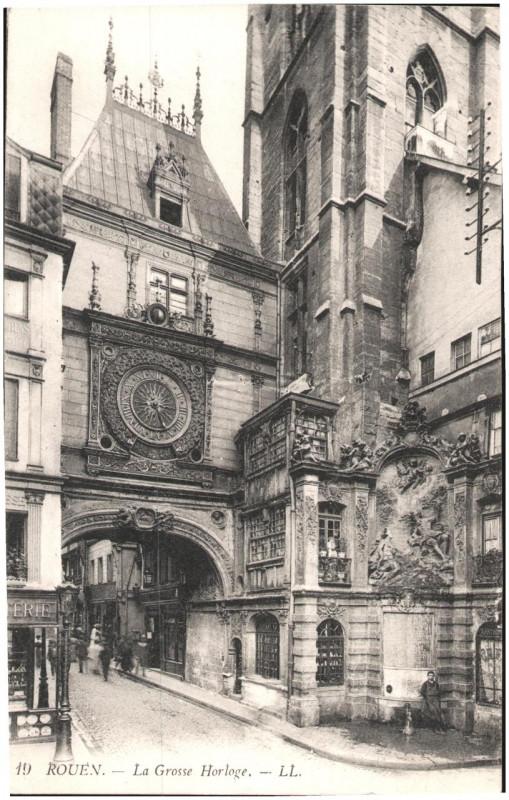 Carte postale ancienne Postcard- Rouen - La Grosse Horloge. December 1914  à Rouen
