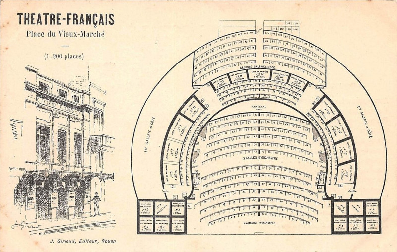 Carte postale ancienne Théâtre Français à Rouen