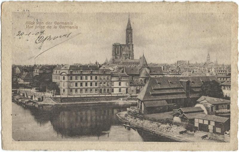Carte postale ancienne 19070120 strassburg blick von der germania à Strasbourg