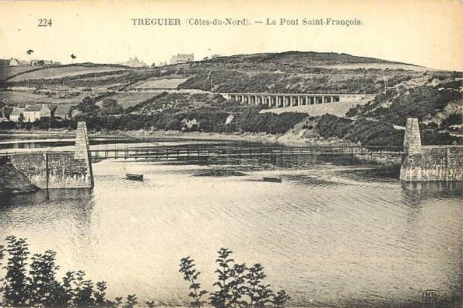 Carte postale ancienne Tréguier (Côtes du Nord) - Le pont Saint-François à Tréguier