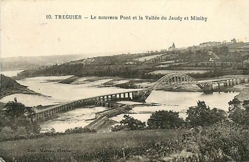 Carte postale ancienne Tréguier - Le nouveau Pont et la vallée du Jaudy et Minihy - Moreau 10 à Tréguier