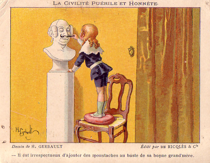 Carte postale ancienne Ricqles Civilite Puerile Moustache