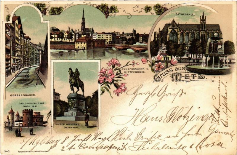 Carte postale ancienne Gruss aus Metz à Metz