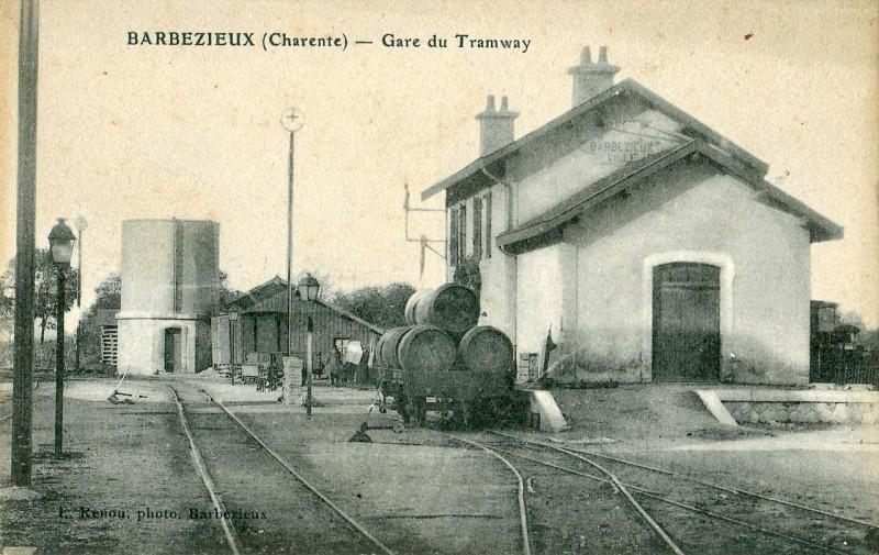 Carte postale ancienne Renou - Barbezieu - Gare du Tramway à Barbezieux-Saint-Hilaire