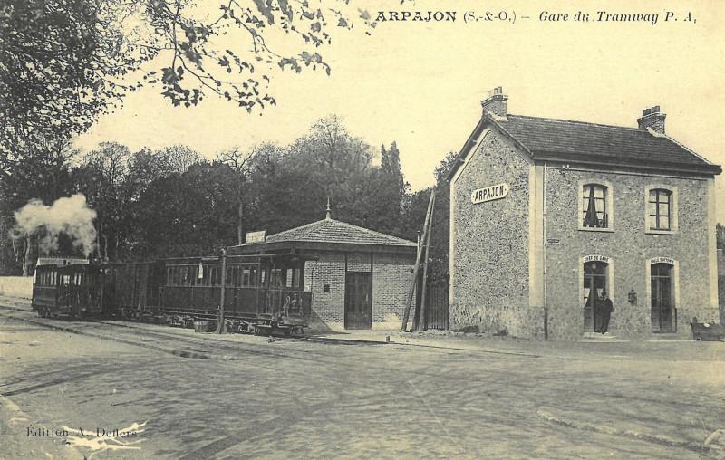 Carte postale ancienne Gare du Tramway à Arpajon