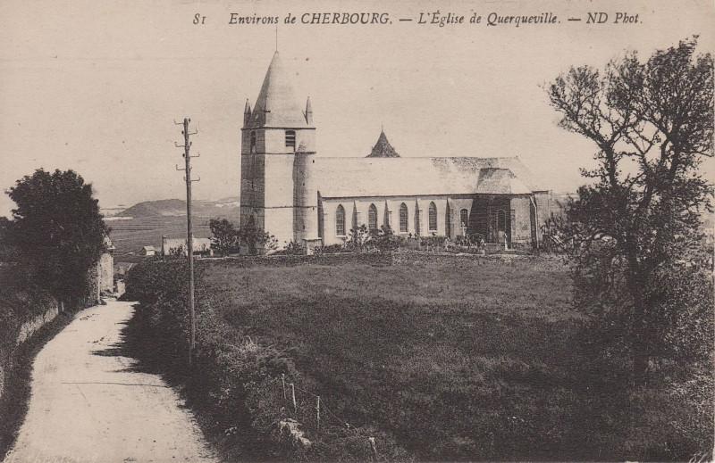 Carte postale ancienne Querqueville - Eglise à Cherbourg-en-Cotentin
