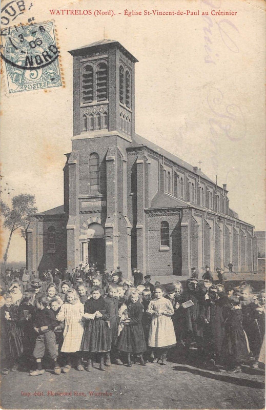 Carte postale ancienne Eglise Saint-Vincent-de-Paul au Crétinier à Wattrelos