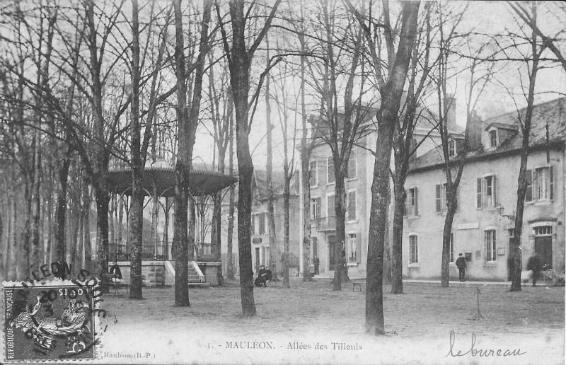 Carte postale ancienne Mauléon-Allée des Tilleuls (1908) à Mauléon-Licharre