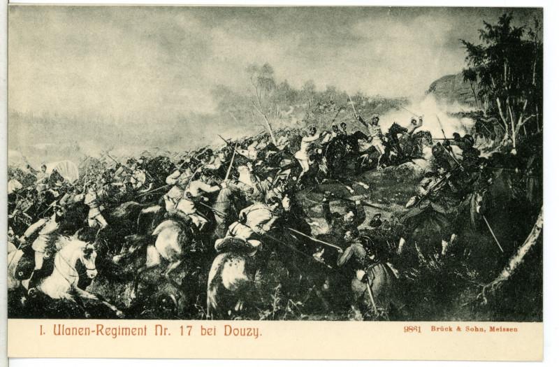 Carte postale ancienne 09861-Douzy-1908-1. Ulanen-Regiment Nr. 17 bei Douzy-Brück & Sohn Kunstverlag