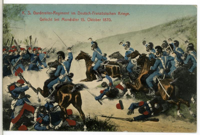 Carte postale ancienne 12138-Mondidier-1910-Königlich Sächsisches Gardereiter-Regiment im Gefecht bei Mondiedier 15. Oktober 1870-Brück & Sohn Kunstverlag