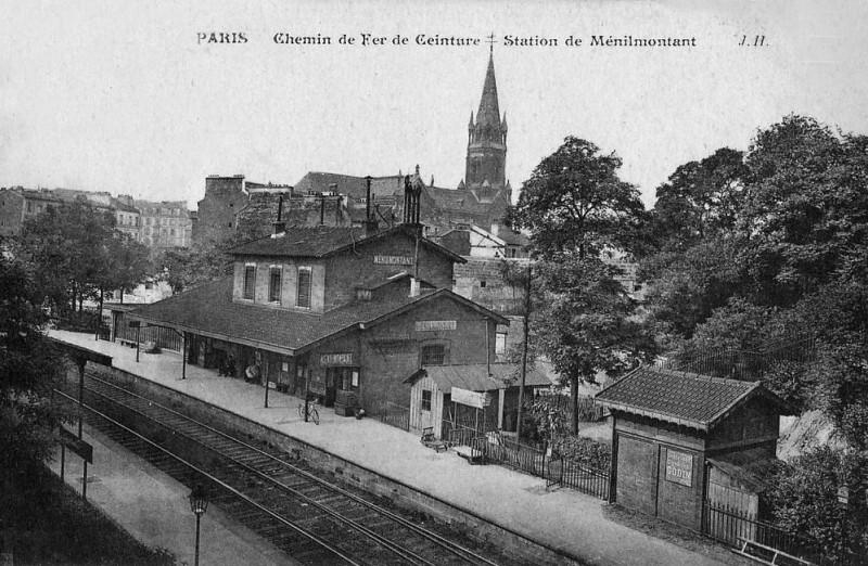 Carte postale ancienne Chemin de Fer Ceinture - Station de Ménilmontant à Paris 20e