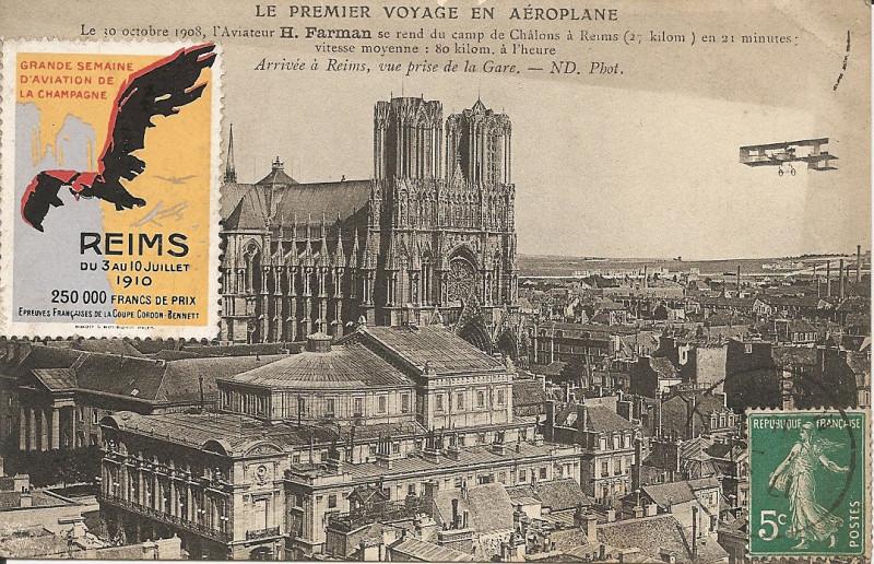 Carte postale ancienne Le premier voyage en Aéroplane-Nd 24 à Reims