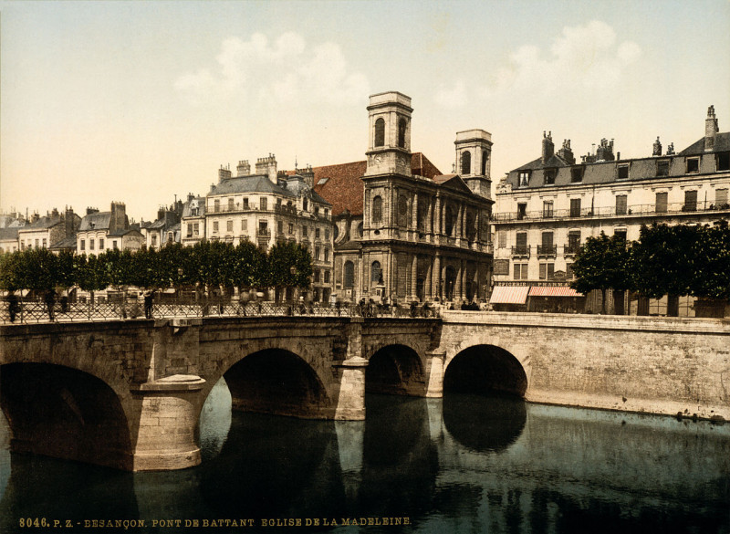 Carte postale ancienne Flickr - …trialsanderrors - Pont de Battant ^ Madeleine church, Besançon, Franche-Comté, France, ca. 1896 à Besançon