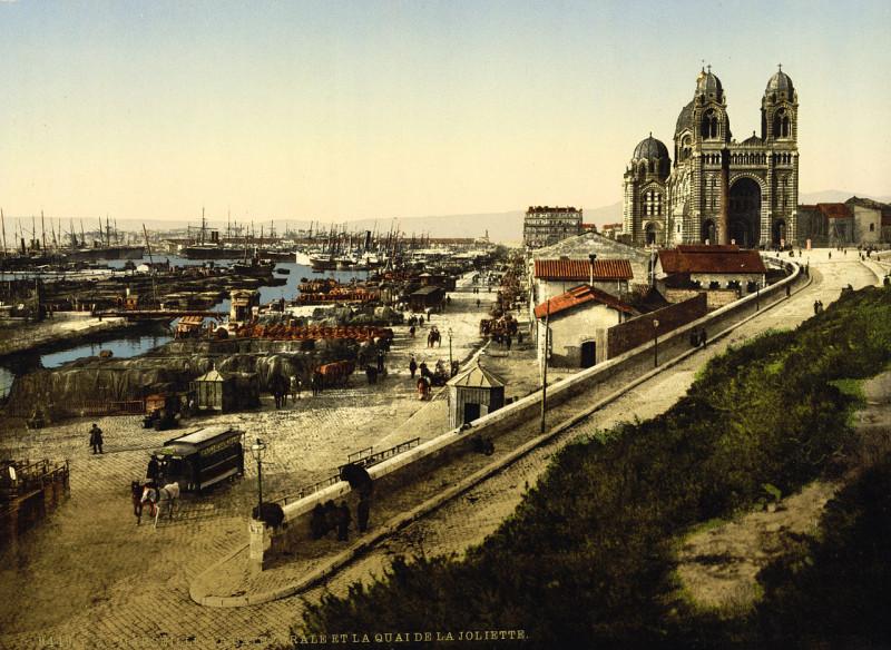 Carte postale ancienne Cathedral and Quay de la Joliette, Marseille, France, ca. 1895 (1) à Marseille 2e Arrondissement