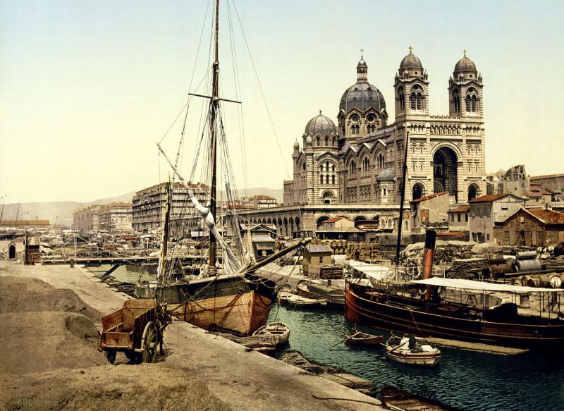 Carte postale ancienne Cathedral and Quay de la Joliette, Marseille, France, ca. 1895 à Marseille 2e Arrondissement