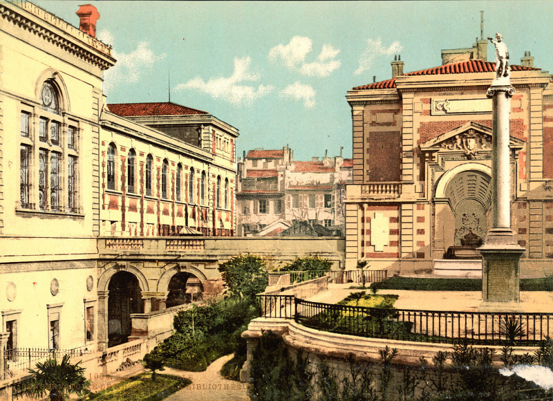 Carte postale ancienne Conservatory and library, Marseille, France, ca. 1895 à Marseille 6e Arrondissement