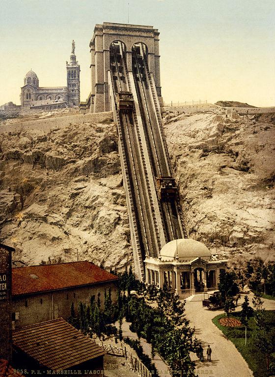 Carte postale ancienne Funicular & Notre Dame de la Garde, Marseille, France, ca. 1895 à Marseille 7e Arrondissement