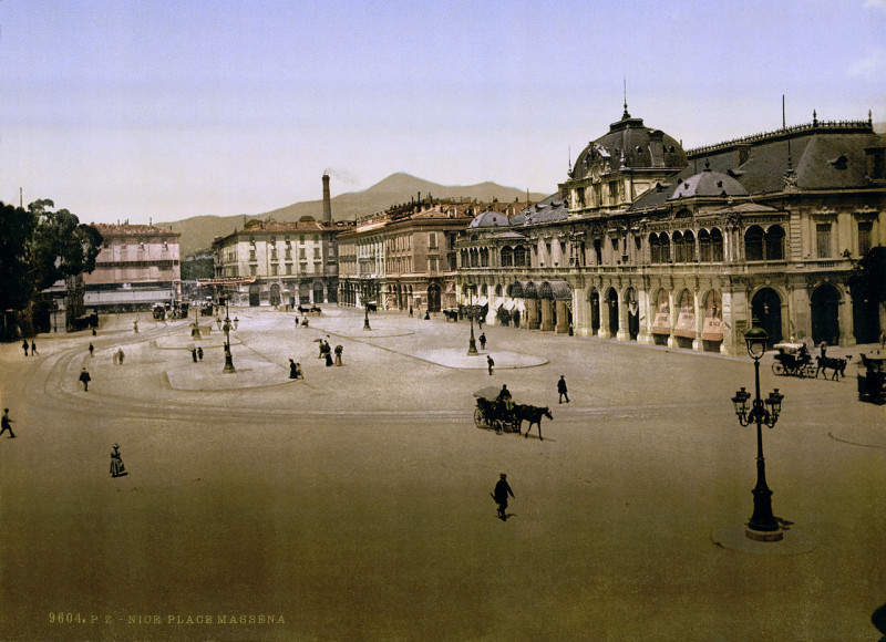 Carte postale ancienne Flickr - …trialsanderrors - Place Masséna, Nice, France, ca. 1895 à Nice