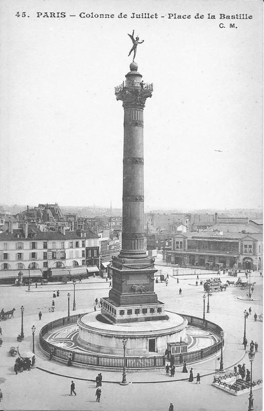 Carte postale ancienne Paris-colonne de Juillet-place de la Bastille-Cm 45 à Paris 4e