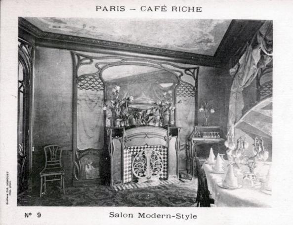 Carte postale ancienne Salon Modern-Style, Art Nouveau, Café Riche, Paris à Paris 2e