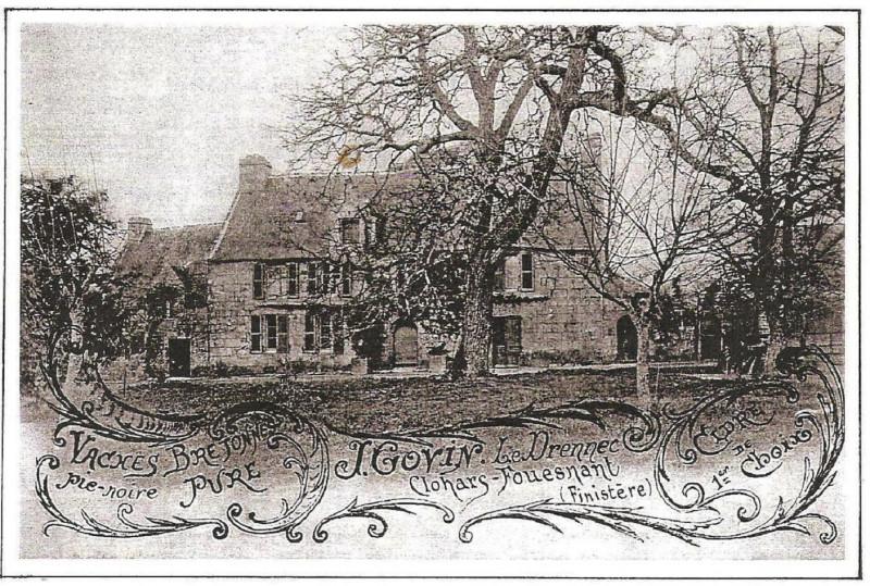 Carte postale ancienne Manoir du Drennec au début du XXème siècle à Clohars-Fouesnant