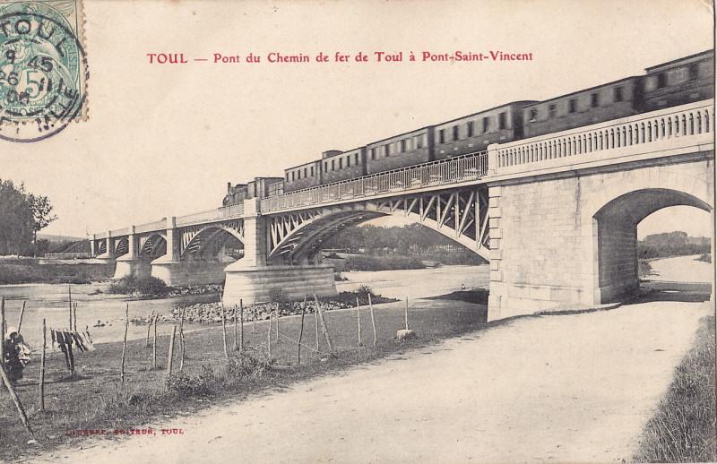 Carte postale ancienne Laurent - Toul - Pont du Chemin de fer de Toul à Pont-Saint-Vincent à Toul