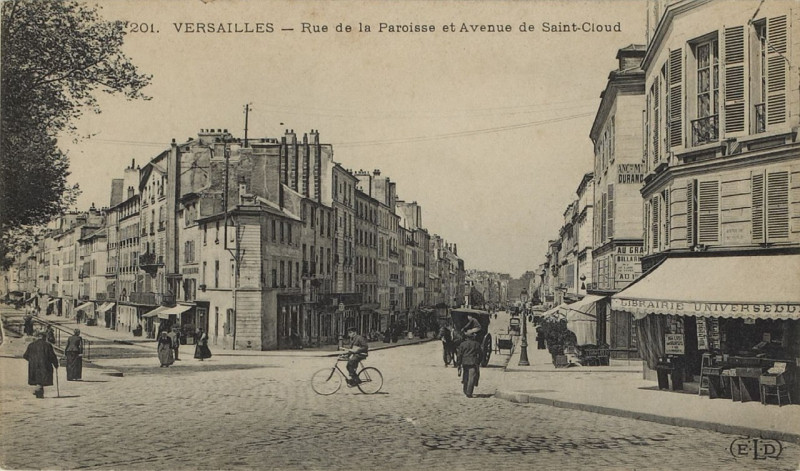 Carte postale ancienne Rue de la Paroisse et Avenue de Saint-Cloud à Versailles