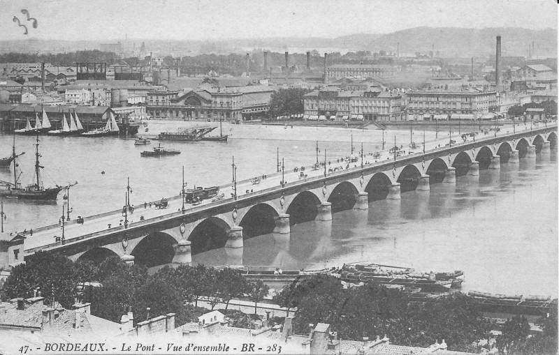 Carte postale ancienne Bordeaux-Le Pont-Vue d'ensemble-Br 283 à Bordeaux