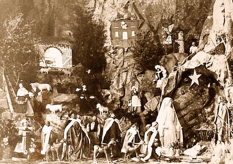 Carte postale ancienne Caromb Crèche de 1939 à