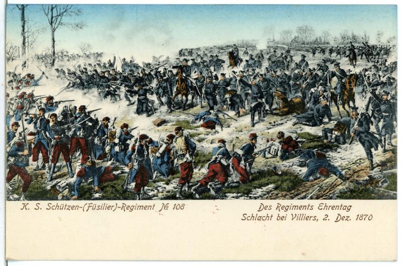 Carte postale ancienne 06683-Villiers-1905-Königlich Sächsisches Schützen-Regiment Nr. 108 - Schlacht bei Villiers 1870-Brück & Sohn Kunstverlag