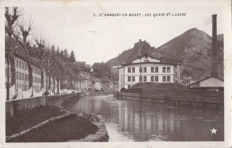 Carte postale ancienne Carte postale ancienne - quais et usine à Saint-Rambert-en-Bugey à Saint-Rambert-en-Bugey