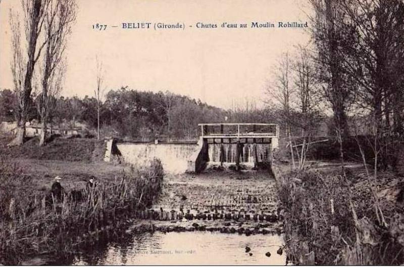 Carte postale ancienne Belin-Béliet - chutes moulin Robillard à