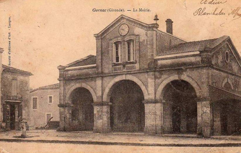 Carte postale ancienne Gornac - Mairie 1 à