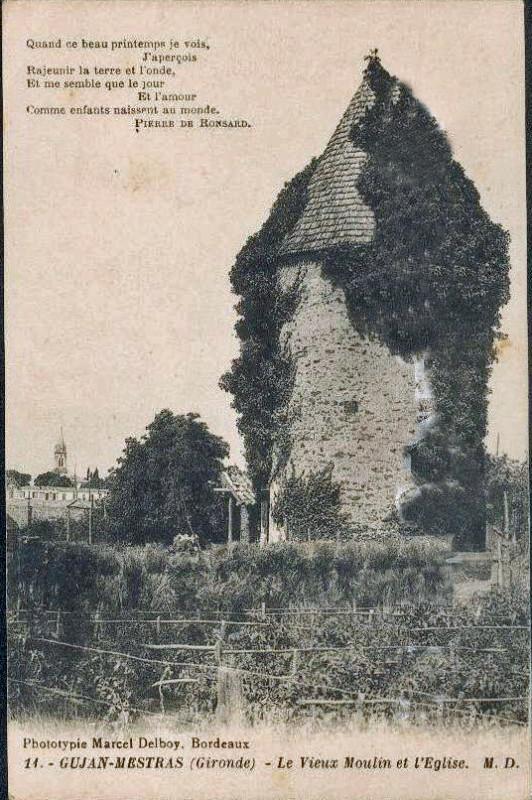 Carte postale ancienne Gujan-Mestras - Vieux moulin 3 à