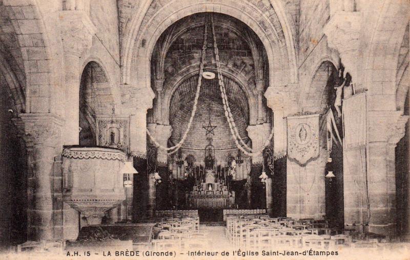 Carte postale ancienne La Brède - église 6 à