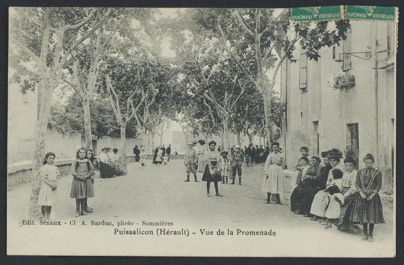 Carte postale ancienne Puissalicon vue de la promenade 1910 - Archives départementales de l'Hérault - FRAD034-2FICP-01680-00001 à