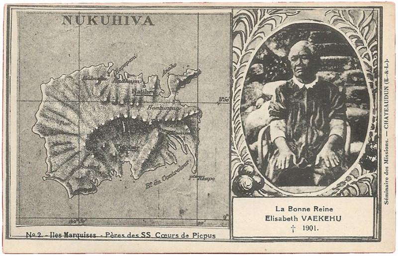 Carte postale ancienne Le Bonne Reine Elisabeth Vaekehu et carte de l'île à