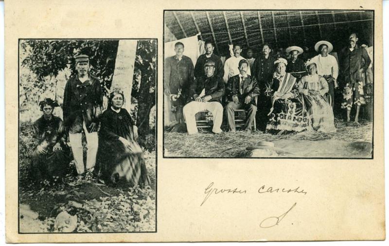 Carte postale ancienne Raiatea – Le Chef Teraupoo et La reine Tuarii et son Conseil, à Avera à
