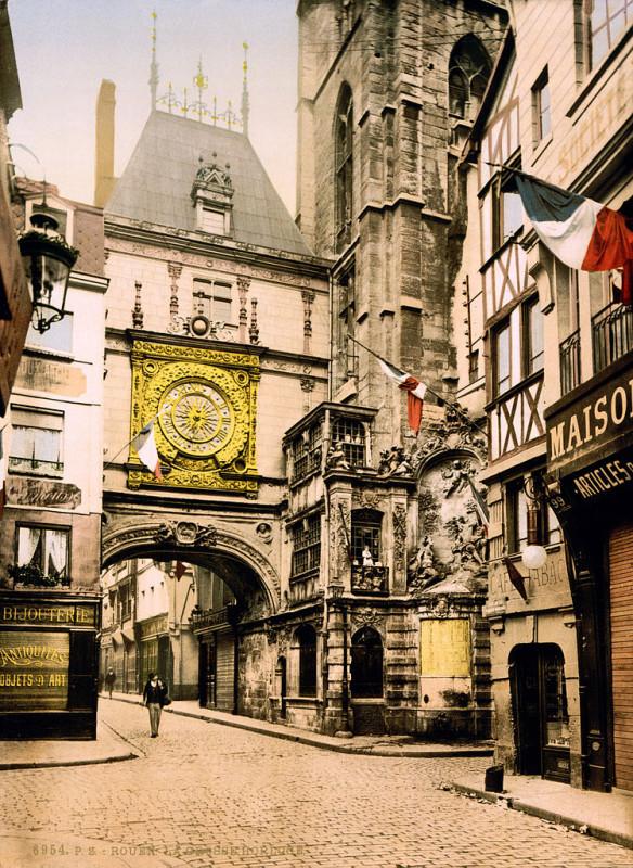 Carte postale ancienne Flickr - …trialsanderrors - The great clock, Rouen, Normandy, France, ca. 1897 à Rouen